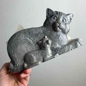 Vintage 1987 Cat and Kitten Napkin Holder Ceramic